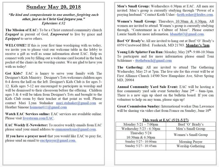 5-20-18 Bulletin